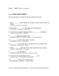 topic: MIXED VERB TENSES 1 For each sentence, choose the ...