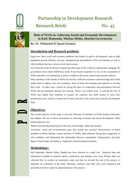 Role of NGOs in Achieving Social and Economic Development in ...