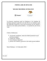 formulaire de demande bourse première génération - Collège Boréal