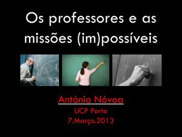 Os professores e as missões