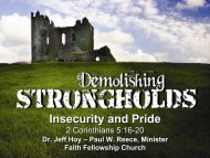Insecurity and Pride - Faith Fellowship Church