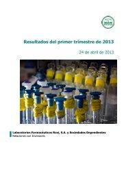 Resultados del primer trimestre de 2013 - Laboratorios Rovi