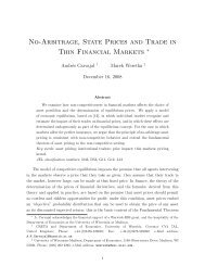 No-Arbitrage, State Prices and Trade in Thin Financial Markets