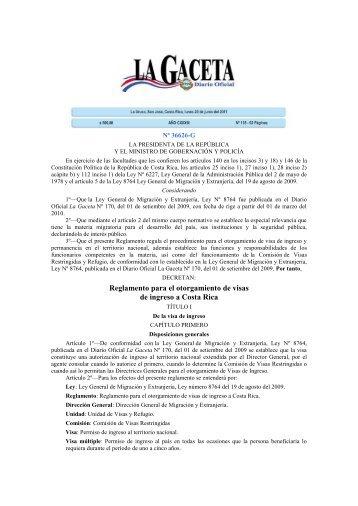 Reglamento para el otorgamiento de visas de ingreso a Costa Rica