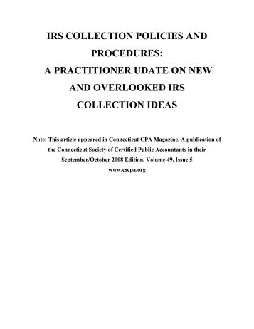 IRS Collection Update Article - Convicer Percy & Green LLP