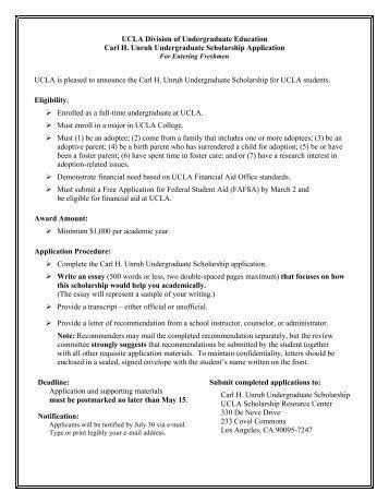 Carl H. Unruh Undergraduate Scholarship - Division of ...