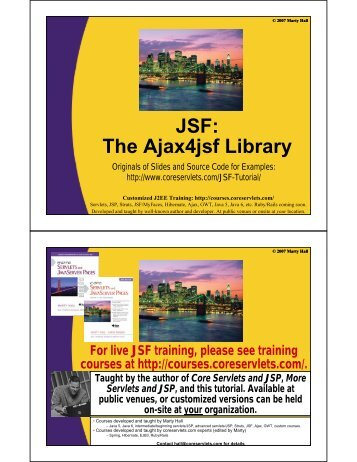 The Ajax4jsf Library - Custom Training Courses - Coreservlets.com