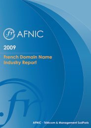French Domain Name Industry Report - 2009 Edition - Afnic