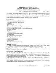 Quantum Mechanics and Spectroscopy I - Department of Chemistry