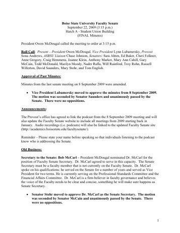 1 Boise State University Faculty Senate September 22, 2009 (3:15 pm)