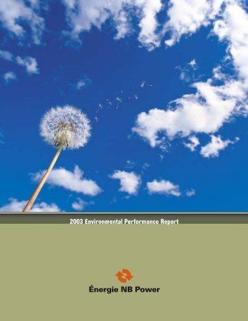 Environmental Performance Report 2003 - New Brunswick Electric ...