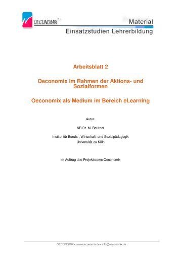 Arbeitsblatt 2 Oeconomix im Rahmen der Aktions- und Sozialformen ...