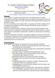 St. Joseph's Catholic Primary School Homework Policy