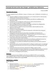 Exemple de texte cahier des charges : prédalles pour bâtiments - Febe