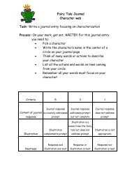 Fairy Tale Journal Character web Task: Write a journal entry ...