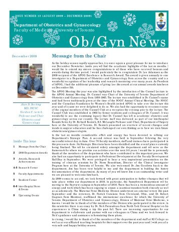 Ob/Gyn News - University of Toronto Department of Obstetrics and ...