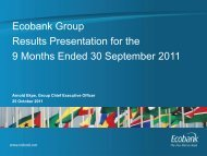 Ecobank Group Results Presentation for the 9 Months Ended 30 ...