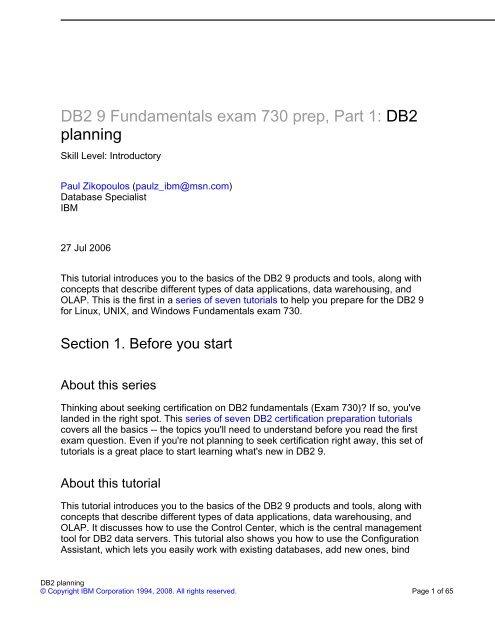 DB2 9 Fundamentals exam 730 prep, Part 1 - FTP Directory