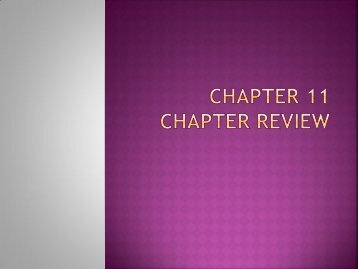 Chapter 11 Chapter Review