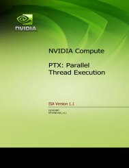 NVIDIA Compute PTX: Parallel Thread Execution