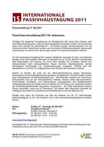 PM 15.Passivhaustagung mit Austellung Forum 2011-05-17.pdf - Lang ...