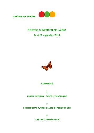 Portes ouvertes de la bio 24 et 25 septembre 2011 ... - A PRO BIO
