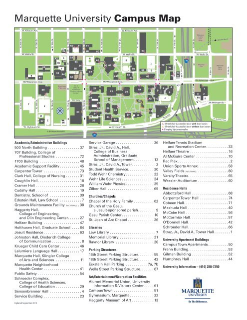 Holy Family Campus Map.Marquette University Campus Map Cali Conference For Law