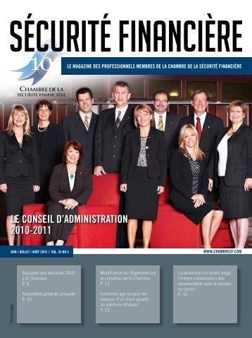 juin / juiLLet / août 2010 | voL. 35 no 3 - Chambre de la sécurité ...