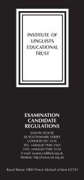 examination candidate regulations - Institute of Linguists