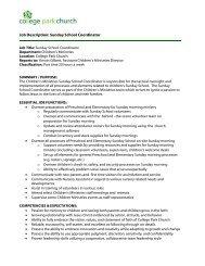 Job Description: Sunday School Coordinator - College Park Church