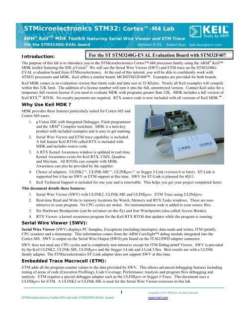 STMicroelectronics STM32: Cortex™-M4 Lab - Arm