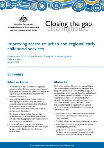 Improving access to urban and regional early childhood services ...