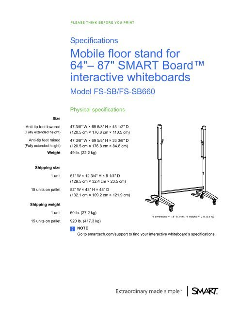 Mobile Floor Stand For 64 87 Smart Board Interactive Whiteboards