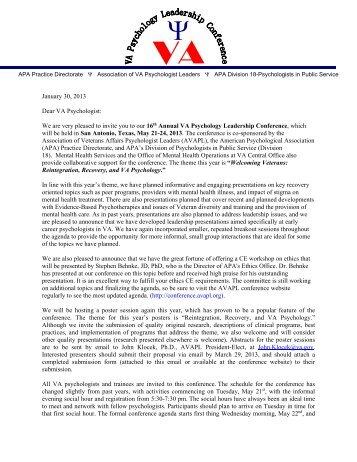 Invitation Letter - VA Psychology Leadership Conference