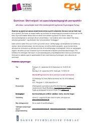 Seminar: Skrivelyst i et specialpædagogisk perspektiv - Viden om ...