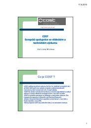 COST Evropská spolupráce ve vědeckém a technickém výzkumu Co ...