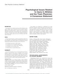 Psychological Issues Related to Injury in Athletes and the Team ...