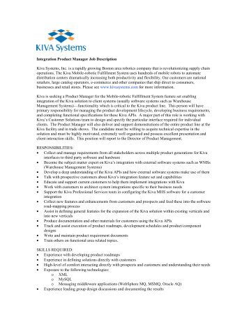 Integration Product Manager Job Description   Kiva Systems