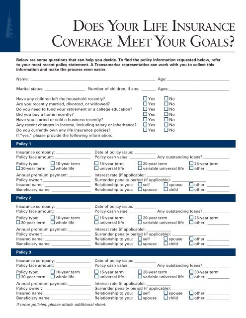 Transamerica Life Insurance Reviews >> Insurance Review Consumer Worksheet Transamerica