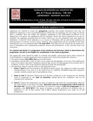 Instructions to fill up Application Form - Indian Statistical Institute