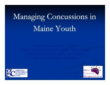 Managing Conc ssions in Managing Concussions in M i Y h aine ...