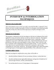 INTERVIEW & INTERROGATION TECHNIQUES