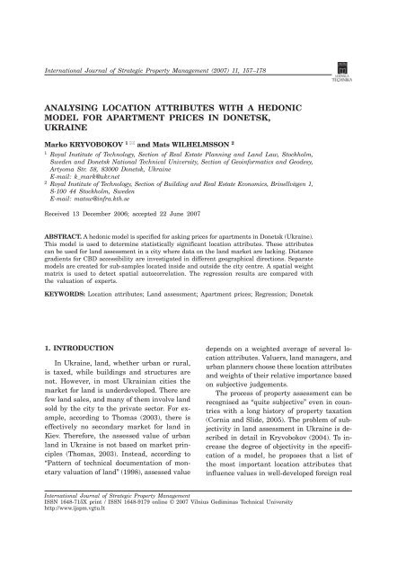 Analysing Location Attributes with a Hedonic Model