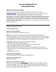 Summer Reading 2013-ญ‐14 Entering 6th Grade - The Westminster ...