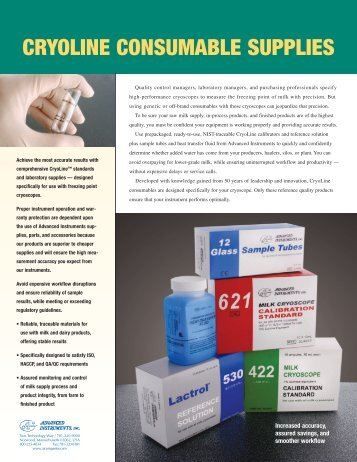 Cryoline Consumable Supplies - Advanced Instruments, Inc.