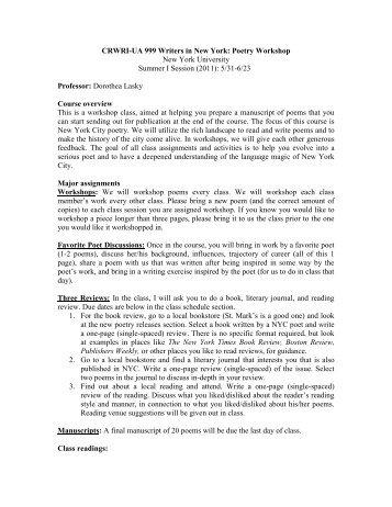 (2011): 5/31-6/23 Professor: Dorothea La - Creative Writing Program