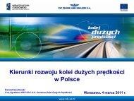 Uwarunkowania dla rozwoju kolei dużych prędkości w ... - SISKOM