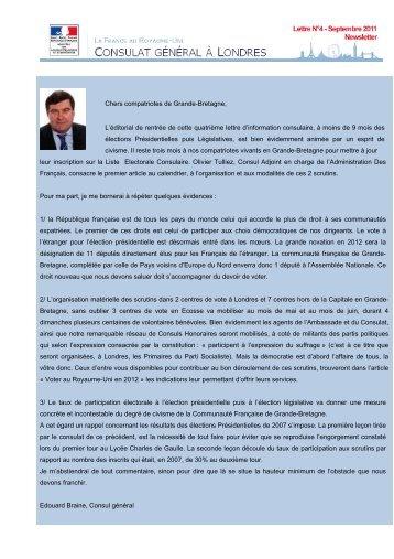 Lettre d'information consulaire de septembre 2011