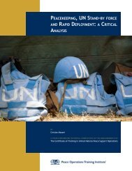 Peacekeeping, UN Stand-by force and Rapid Deployment: a Critical ...