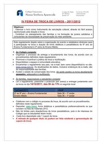 IV FEIRA DE TROCA DE LIVROS – 2011/2012 - Consa